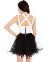 Goddiva Black Jewel Embellished Bodice Netted Prom Dress