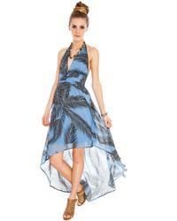 Goddiva Blue Hawaii Halter Chiffon Dress*