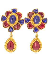 Chanel | Blue Ruby And Sapphire Drop Earrings | Lyst