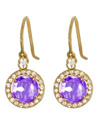 Suzanne Kalan | Multicolor The Pave 14k Gold 8mm Round Amethyst Drop Earring | Lyst