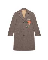 Gucci - Brown Wool Coat With Embroideries - Lyst