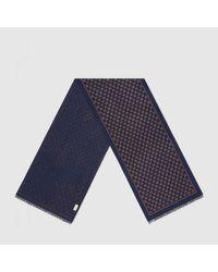 Gucci メタリックGG ウール スカーフ Blue