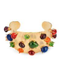 Bracelet-manchette avec pierres en cabochon Gucci en coloris Multicolor