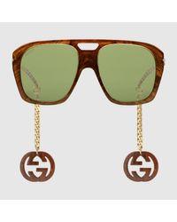 Gucci 【公式】 (グッチ)オンライン限定 チャーム付き スクエア サングラスブラウン アセテートブラウン Multicolor
