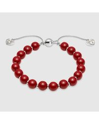 Gucci - Red Bracelet With Wooden Beads - Lyst