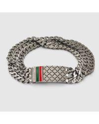 Gucci Metallic Chain Bracelet With Diamante Motif Engraved Tag for men