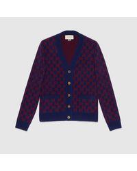 メンズ Gucci 【公式】 (グッチ)オンライン限定 GGウール カーディガンダークブルー/レッド GGウールブルー Blue