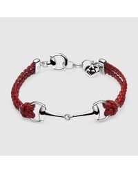 Gucci - Red Leather Bracelet With Horsebit for Men - Lyst