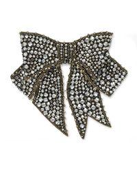 Broche à nœud en cristal Gucci en coloris Black