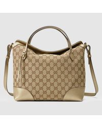 40efc2823e3 Lyst - Gucci Bree Original Gg Canvas Top Handle Bag in Brown