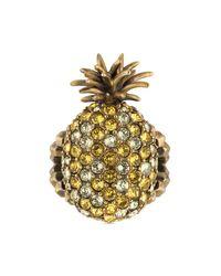Bague ananas en métal avec cristaux Gucci en coloris Metallic