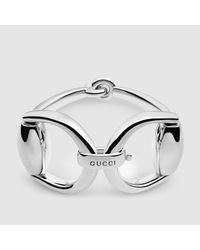 Gucci - Metallic Horsebit Bracelet In Silver - Lyst