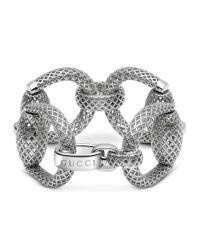 Gucci | Metallic Horsebit Bracelet In Silver | Lyst