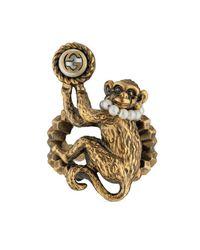Gucci - Metallic Monkey Ring In Metal for Men - Lyst