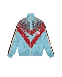 Gucci Blue Embroidered Nylon Jacket
