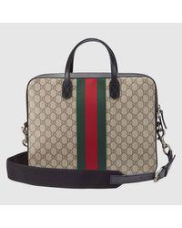 Gucci - Brown Web Gg Supreme Briefcase for Men - Lyst
