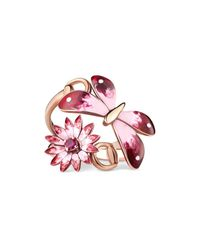 Gucci | Multicolor Flora Ring In Rose Gold, Enamel And Rubies | Lyst