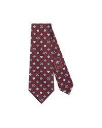 Corbata de Seda con Motivo de Símbolos Gucci de hombre de color Purple