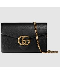 Gucci - Black GG Marmont Leather Mini Chain Bag - Lyst