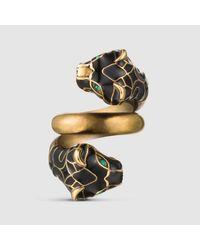 Gucci - Multicolor Tiger Head Ring With Black Enamel - Lyst