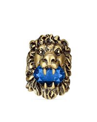 Gucci | Blue Lion Head Ring With Crystal | Lyst