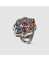 Gucci - Metallic Ring With Swarovski Crystals - Lyst