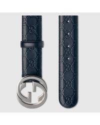 Gucci - Black Signature Leather Belt for Men - Lyst