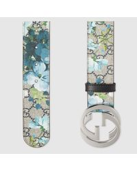 Gucci Blue Gg Blooms Belt With G Buckle