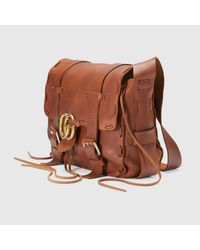 Gucci - Brown GG Marmont Leather Messenger Bag for Men - Lyst