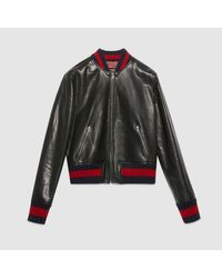 Gucci - Black Embroidered Leather Bomber Jacket - Lyst