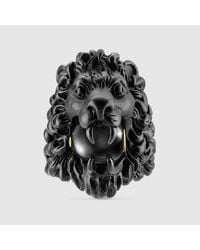 b2b2d4429174c1 Lyst - Gucci Lion Head Ring With Glass Pearl