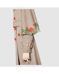 Gucci | Multicolor Embroidered Houndstooth Trench Coat | Lyst