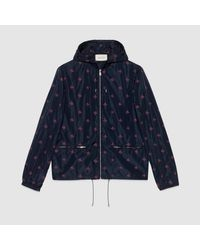 Gucci - Blue Bee Star Nylon Jacket for Men - Lyst