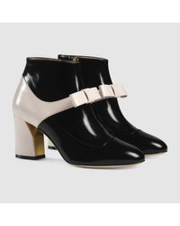 Gucci | Black Leather Mid-heel Ankle Boot | Lyst
