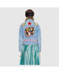 Gucci - Blue Embroidered Denim Jacket - Lyst