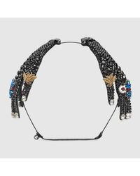 Gucci - Metallic Hairband In Metal With Crystals - Lyst