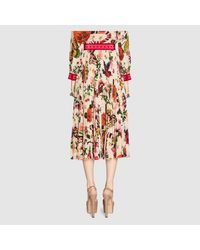 Gucci - Multicolor Garden Exclusive Silk Skirt - Lyst