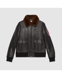 Gucci Brown Bomber Jacket With Embroidery for men