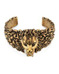 Gucci   Metallic Lion Head Cuff Bracelet In Metal   Lyst