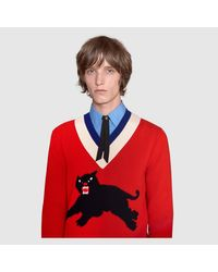 Gucci - Red Wool Sweater With Panther Intarsia for Men - Lyst