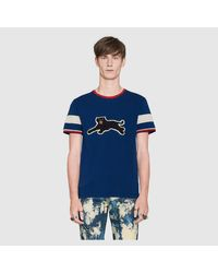 Gucci Blue Cotton T-shirt With Panther for men