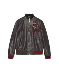 Gucci Black Leather Bomber With Embroideries for men