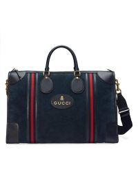 Gucci Blue Suede Duffle Bag With Web for men