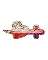 Gucci - Red Pierced Heart Palm Cuff - Lyst
