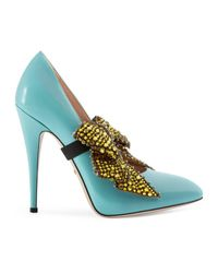 Gucci | Blue Leather Pump With Crystal Bow | Lyst