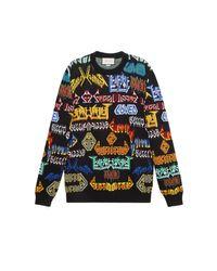 Pull en laine à motif Metal Mix Gucci pour homme en coloris Black
