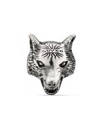 Gucci - Metallic Anger Forest Wolf Head Ring In Silver for Men - Lyst
