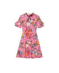650e174879b Gucci Flora Snake Print Jersey Dress in Pink - Lyst