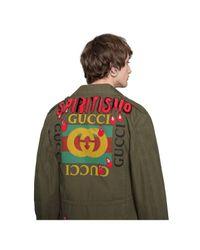 Gucci Green Logo Parka With Spiritismo Appliqué for men