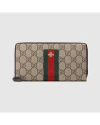 メンズ Gucci 【公式】 (グッチ)ウェブ GGスプリーム キャンバス ジップアラウンドウォレットGGスプリームベージュ Multicolor